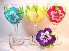 SET OF FOUR HAND PAINTED HIBISCUS WINE GLASSES