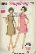 "An original ca. 1969 Simplicity Pattern 8159.  ""Simple to Sew"" Jiffy* Dress in Half-Sizes: The dart fitted dress with back zipper has bias roll collar with notch detail. Dress features a pleat below left front seam simulating an opening. Button trimmed V. 1 has short set-in sleeves. Sleeveless V. 2 has bow trim."