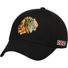free shipping 9c858 c8acc Men s CCM Black Chicago Blackhawks Original 6 Structured Flex Hat