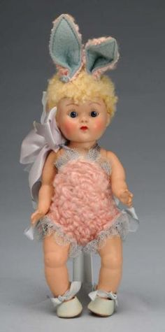 Lot # : 2327 - Vogue 1950s Easter Bunny Ginny Crib Crowd Baby Doll