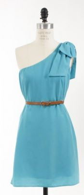 The Classy & Fabulous Turquoise One Shoulder Bow Dress