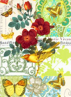 "Golden butterflies and birds along with long stemmed, rich red blossoms cover a detailed ground filled with sheets of music, letters, and a paisley butterfly work of art; all pieces one could find in a romantic journal arrangement. This incredible garden collection is full of vibrant color and feminine garden motifs done with an elegant sophisticated finish. Bird is about 6 1/2"", 'Anjou Pour Vous' from the 'French Journal' collection by London Portfolio for Michael Miller Fabrics"