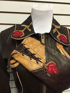 East West Musical Instruments Vintage Leather Jacket XS Womans Brown Rose
