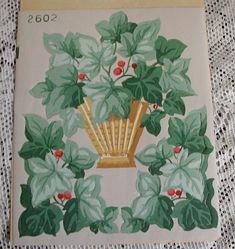 Vintage Die Cut Ivy Berries in Basket Trimz by hollyhockscottage