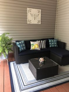 Patio Sofa and Sectional Wicker Patio Furniture, Wicker Sofa, Patio Furniture Sets, Garden Furniture, Patio Cushions, Garden Sofa, Outdoor Sectional, Sofa Set, Patio Ideas