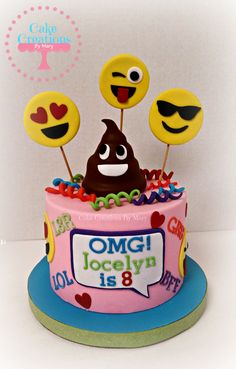Pink Emoji Cake And Cupcakes Girls Birthday Cakes Pinterest