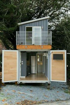 This is a two-story shipping container tiny house for sale that's totally unlike anything I've seen before! Designed by BoxedHaus, it has beautiful modern finishes, an upstairs bedroom … House Design Two-Story Shipping Container Tiny House For Sale Tiny House Shipping Container, Shipping Container Home Designs, Building A Container Home, Container Buildings, Container Architecture, Container House Plans, Container House Design, Tiny House Design, Shipping Containers