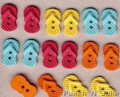 SEW CUTE FLIP FLOPS - Summer Beach Sea Novelty Dress It Up Sewing Craft Buttons