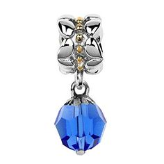Sterling Silver  Yellow Gold September Birthstone Dangle Bead Charm with Faceted Crystal *** Check this awesome product by going to the link at the image.
