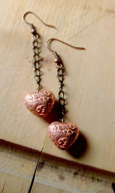 Country Heart Earrings Copper Jewelry Country by stoneandbone, $12.95