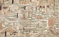 五臺山圖 莫高窟第61窟 五代 五臺山(位於山西省東北部)是中國四大佛教名山之一。中唐吐蕃統治敦煌時,五臺山圖的畫稿傳到西北,敦煌壁畫也出現此題材。在曹氏統治敦煌時期,第61窟出現了巨幅五臺山圖,原畫高3.42米、寬13.4米。壁畫反映了晚唐、五代時的寺院形制,圖中央最高峰榜題「中臺之頂」,其餘東、南、西、北臺各有標示。五臺山圖是石窟壁畫中繪製建築物數量最多的一幅圖,亦是現存中國古代最大的地形圖。 此臨摹以第61窟五臺山全圖的右部為範圍,鳥瞰古河北道鎮州(今河北正定縣)至大佛光之寺之間的山巒地貌,畫面上部的「東臺之頂」分佈著許多小型寺院和草廬,以及佛教聖跡場景;中部有大法華之寺及大佛光之寺等較具規模的寺院;下方則是河北道鎮州以及通往五臺山道路上的景色,可見沿途各類登山人士及店舖等,多方面反映了當時的社會風貌。