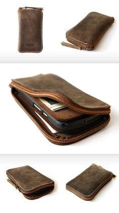 iPhone/ HTC/ Samsung etc Zip Wallet, plastic coil zipper, IKK auto-lock, leather pull tab