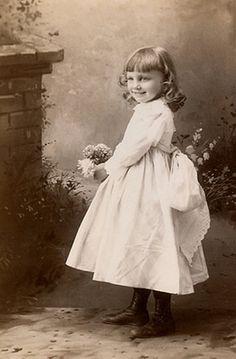 +~+~ Antique Photograph ~+~+  Happy in the garden