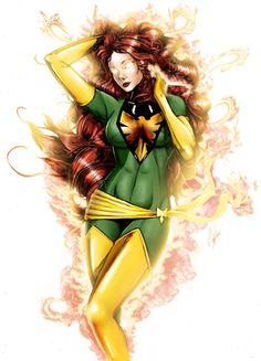 Phoenix Colored Daily Drawing by steevinlove on DeviantArt Jean Grey Phoenix, Dark Phoenix, Phoenix Force, Super Hero Tattoos, Silk Spectre, Comic Book Villains, Danger Girl, Marvel Tattoos, Rei Ayanami