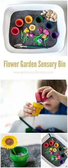 Learn how to make this beautiful Flower Garden Sensory Bin just in time for spring.