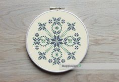 modern cross stitch pattern, geometric snowflake circle, PDF ** instant download**