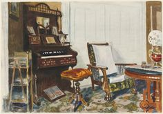 Hopper painted this interior during a stay in a boarding house in Rockland, Maine, where his interest was caught by the parlor—a cluttered room whose furniture included a pump organ, a heavy carved chair, and busy patterned carpets, all in an old-fashioned Victorian style. The parlor was traditionally a room for entertaining guests, but Hopper showed this one as empty, abandoned by its occupants. Like the home from the same era pictured in his painting House by the Railroad, the room stands…