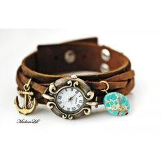 MadamLili - skórzany zegarek z jaspisem i kotwicą