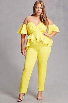 Plus Size Peplum Jumpsuit Plus Size Peplum, Plus Size Jumpsuit, Yellow Jumpsuit, Ruffle Jumpsuit, Pear Fashion, Women's Fashion, Fashion Deals, Sexy Curves, Plus Size Women