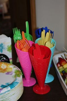 rainbow silverware holders with cups from dollar store