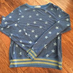 Wildfox blue stars sweater jumper small Worn a few times. Size small. Fits a little oversized and has that soft feel of all Wildfox. Wildfox Sweaters Crew & Scoop Necks