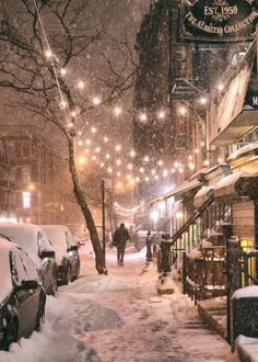 New York City in the snow. East Street in the East Village on a winter night during a snowstorm. One of the best times to experience NYC in the winter! Winter Szenen, Winter Time, New York Winter, Christmas In New York, New York Snow, Winter Season, Christmas Eve, Boston Winter, I Love Winter