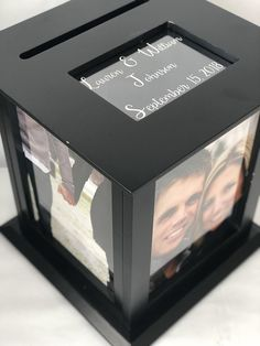 Personalized Black Wedding Card Box Comes With Personalized Photo Print Graduation Card Boxes, Personalised Gifts Diy, Gift Card Boxes, Baby Shower, Card Box Wedding, Grad Parties, Box Design, Your Cards, Marie