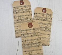 Vintage Christmas Sheet Music | Vintage Sheet Music Tags-Large or Medium Tags | Christmas Time