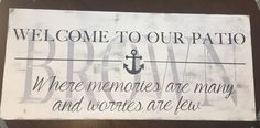 Custom wood patio sign, nautical, anchor, distressed white finish