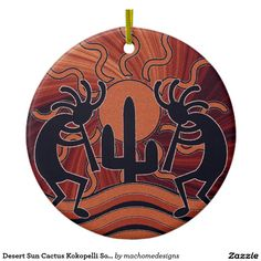 Shop Desert Sun Cactus Kokopelli Southwest Decor Ceramic Ornament created by machomedesigns. Southwestern Quilts, Southwest Decor, Painted Rock Cactus, Painted Rocks, Rock Painting Designs, Paint Designs, Southwestern Christmas Ornaments, Cactus Drawing, Native American Artwork