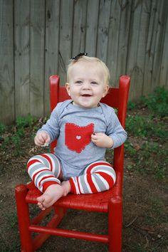 Ohio LOVE, GREY State of Ohio Bodysuit with heart $19.50, via Etsy.