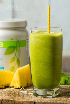 Glorious Pineapple Green Smoothie: This recipe is a sweet and fresh way to start your day! Don't let the green color fool you, this recipe will leave your taste buds wanting more of the topics without buying a plane ticket.  #BESTSMOOTHIE  #VEGASMOOTHIE
