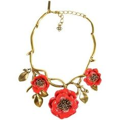 Pre-Owned Oscar De La Renta Gold Branch Coral Red Crystal Enamel Flower Metal Necklace