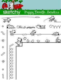 Doodle Border / Frame Dog / Puppy  4 Hand Drawn / Free Hand Transparent Borders  $