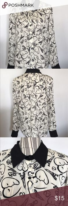 Catherine Malandrino for Design Nation Blouse Limited edition long black cuffed sleeved Blouse 👚 with black collar and snap on buttons. Fun Paris design. Catherine Malandrino Tops Blouses