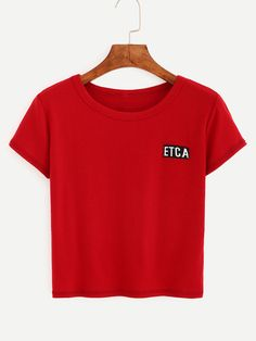 Letter Embroidered Crop T-shirt - Red