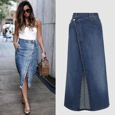 Women S Fashion During The Great Depression Fashion Wear, Denim Fashion, Fashion Outfits, Refaçonner Jean, Jeans Recycling, Jeans Refashion, Denim Skirt Outfits, Diy Vetement, Jeans Rock