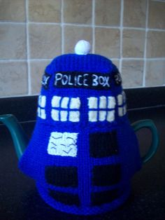 Knitted Tea Cosy Cosie Dr Who Tardis Shabby Chic by rosiecosie, £12.99