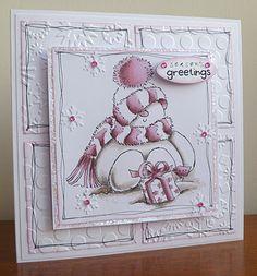 Pink Snowman Card. Adore this snowman stamp!