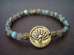 Women's Dirty Labradorite Lotus Mala Bracelet
