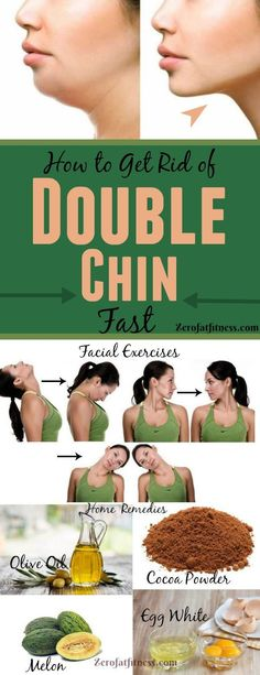 Weight Loss Remedies How to Get Rid of Double Chin Fast with Exercises and Home Remedies - Do you want to lose fat under chin? Here is everything you need to know to get rid of double chin fast with facial exercises and home remedies Lose Fat, Lose Weight, Weight Loss, Burn Fat Fast, Natural Health Remedies, Herbal Remedies, Cold Remedies, Bloating Remedies, Fitness Workouts
