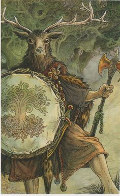 The Stag: Herne, pagan god of the forest who appears in Celtic, Viking, Anglo-Saxon and other mythologies. And part of the wild wood tarot Wildwood Tarot, The Magic Faraway Tree, Pagan Gods, Pagan Art, Celtic Mythology, Celtic Art, Anglo Saxon, Art Graphique, Gods And Goddesses