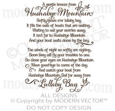 Chitty Chitty Bang Bang Quote Vinyl Wall Decal HUSHABYE MOUNTAIN Lullaby Nursery | eBay