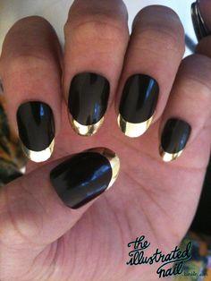 #Gold and #black #nails see @MinxNailsDotCom tips…
