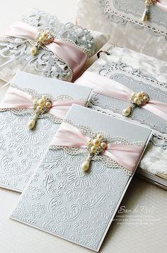 luxury Gray and pink lace vintage Custom Wedding monogram Embossed Invitation Elegant sweet Card Vintage Invitations, Handmade Wedding Invitations, Diy Invitations, Elegant Invitations, Wedding Stationary, Invitation Cards, Invite, Wedding Paper, Wedding Cards