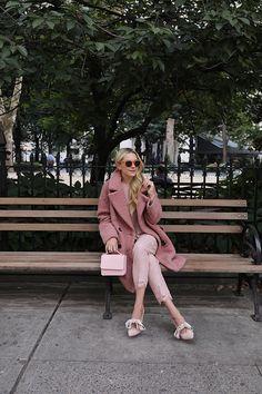 blush coat pants shoes