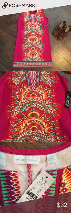 NWT Gorgeous tribal print sleeveless dress This dress is super cute! It is brand new with tags and has never been tried on. It looks perfect with a pair of boots! The colors are super vivid and bright. It is the perfect dress for any occasion! New York & Company Dresses