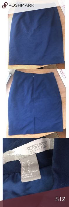 F21 Pencil Skirt Navy blue pencil skirt from Forever 21. It is Contemporary 21 (brand of F21 that runs about a half size bigger). Back slit. Zip up and clasp closure. Good condition. Forever 21 Skirts Pencil