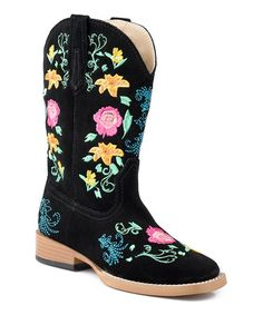 Love this Black Embroidered Square Toe Cowboy Boot - Toddler & Kids by Roper on #zulily! #zulilyfinds