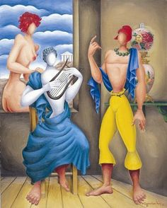 Odysseus narrates to Homer - Nikos Engonopoulos (Greek) Homer Odyssey, Greece Painting, Night At The Museum, 10 Picture, Greek Art, Urban Art, Installation Art, Surrealism, Contemporary Art